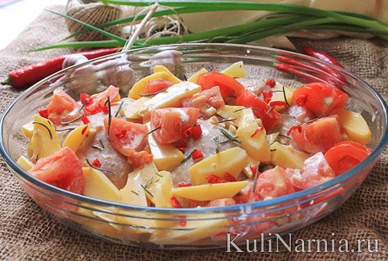 курица с помидорами и картошкой
