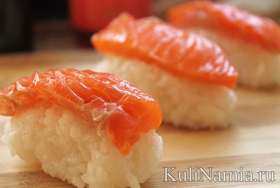 нигири суши с семгой