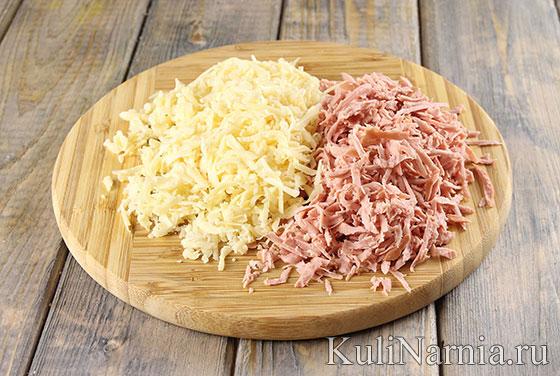 Пирог-улитка с сыром и ветчиной