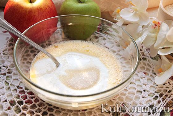 кефирные оладьи с яблоками