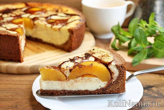 Творожный пирог с консервированными персиками