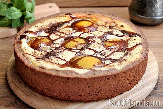 Творожный пирог с персиками консервированными рецепт