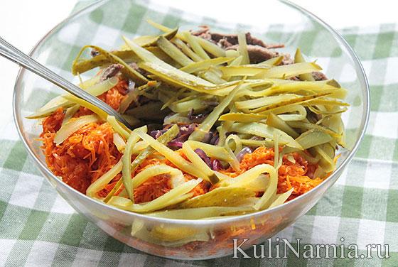 Рецепт салата обжорка с мясом