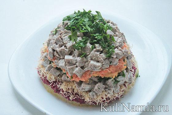 Салат шапка мономаха с говядиной