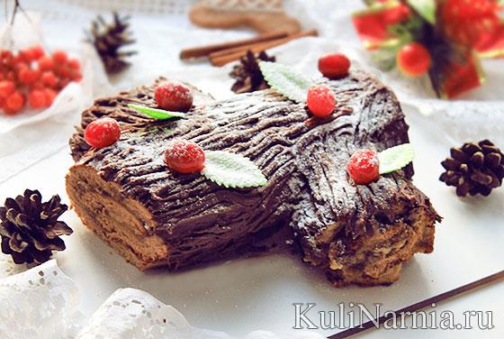 Шоколадный торт рождественское полено