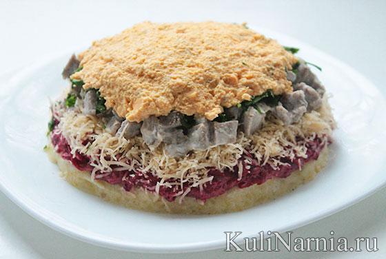 Слоеный салат шапка мономаха рецепт