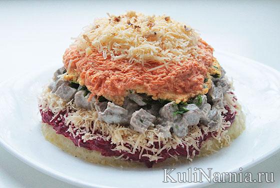 Слоеный салат шапка мономаха