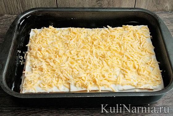 Лазанья с сыром и грибами