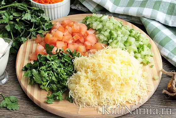 Как готовить салат кучками с корейской морковью