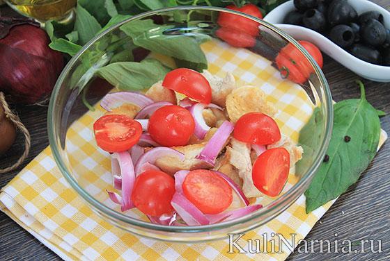 Легкий салат с куриной грудкой и черри