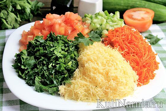 Салат кучками с корейской морковью