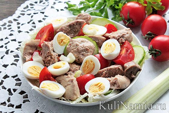 Салат из печени трески вкусный