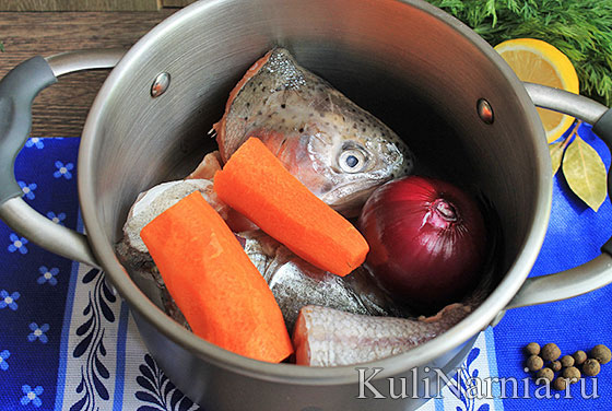 Рецепт ухи из красной рыбы