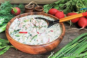 Классическая окрошка на квасе рецепт с колбасой