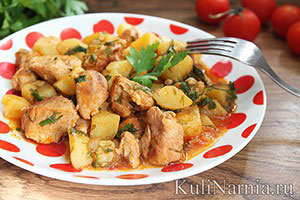 Тушеная картошка со свининой рецепт