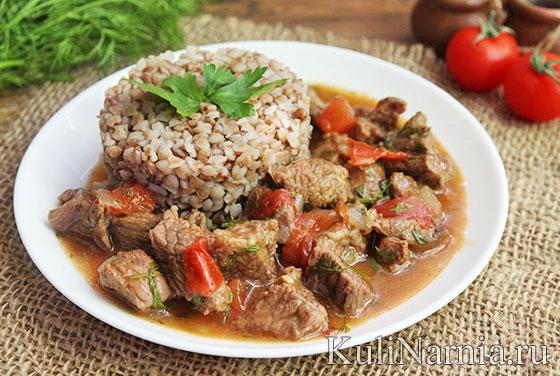 мясо с овощами в казане в духовке рецепт