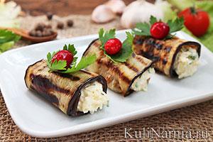 Рулеты из баклажанов с сыром и чесноком рецепт