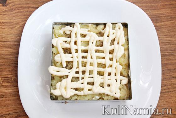 Слоеный салат с говядиной рецепт