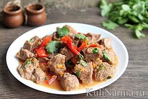 как приготовить мясо с подливой на сковороде