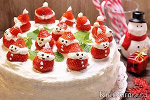 Бисквитный торт с клубникой рецепт с фото1