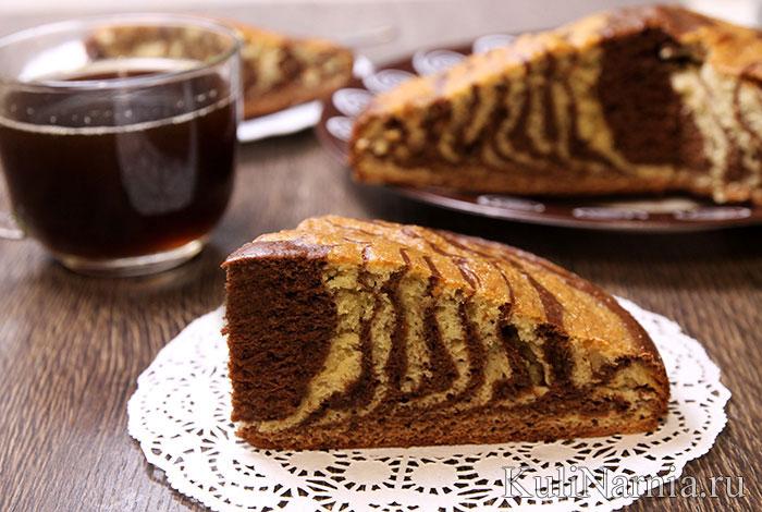 кефирный пирог с зебра с глазурью рецепт с фото