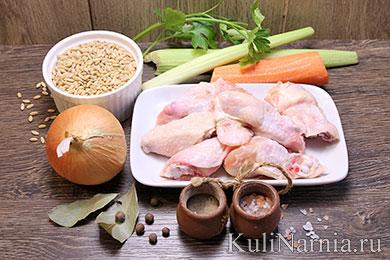 Перловый суп с курицей