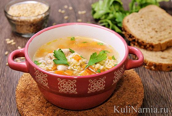 Суп с перловкой на бульоне курином