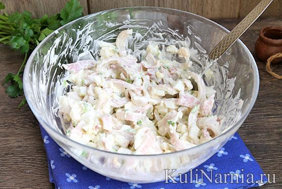 Салат с кальмарами креветками и яйцом рецепт с