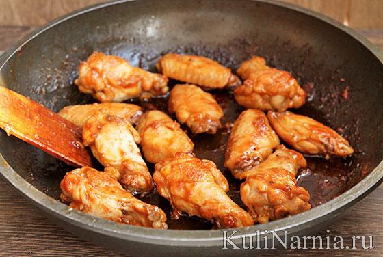 Куриные крылья на сковороде рецепт