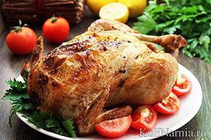 Курица в рукаве в духовке целиком