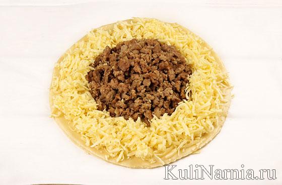 Пирог Подсолнух с мясом и сыром рецепт