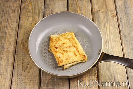 Ека из лаваша с яйцом и сыром