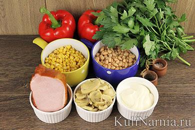 Салат с маринованными шампиньонами рецепт