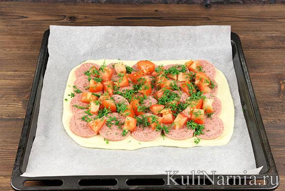 Как сделать пирог с колбасой и сыром