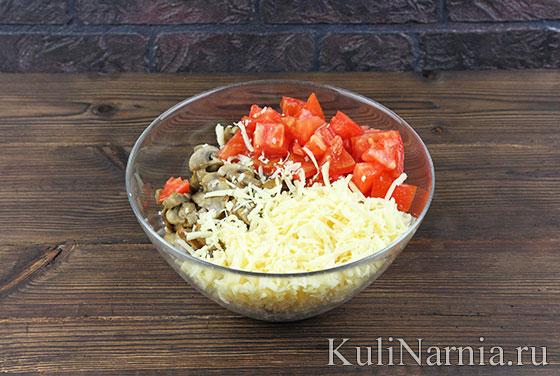 Рецепт салата с курицей грибами и помидорами