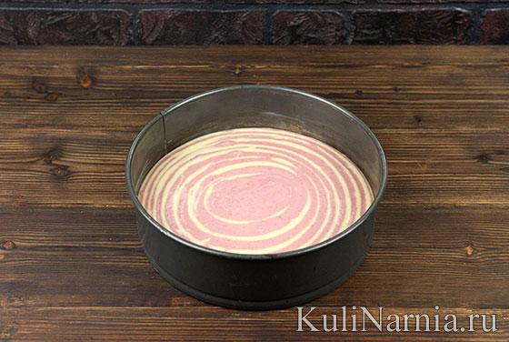 Как готовить малиновый пирог Зебра