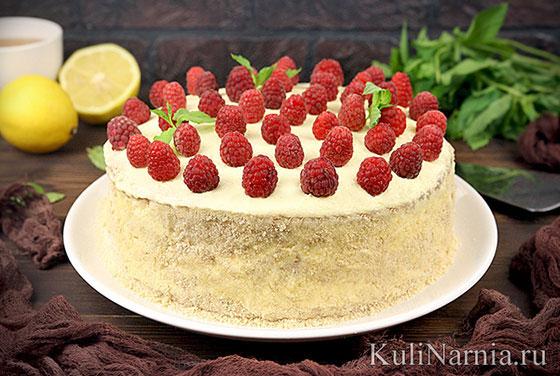 Лимонный торт с малиной