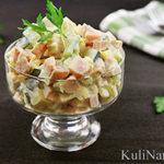 Салат с ветчиной, сыром и огурцами