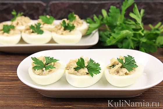 Фаршированные яйца печенью трески