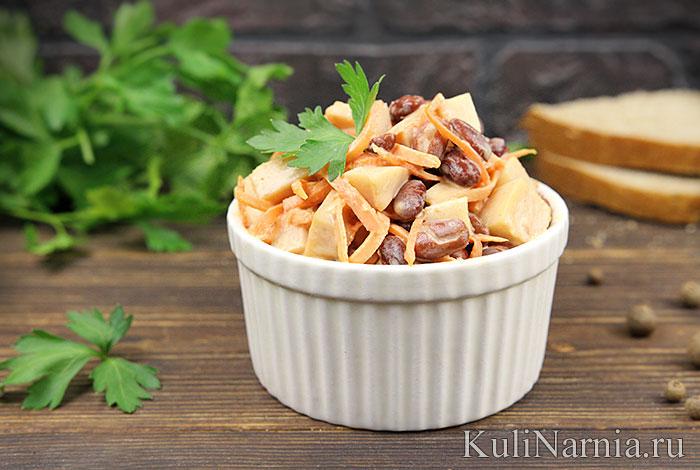 Салат с фасолью, корейской морковью и курицей