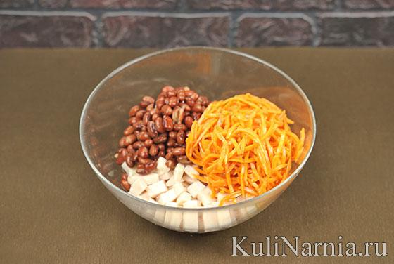 Салат с фасолью курицей и морковью