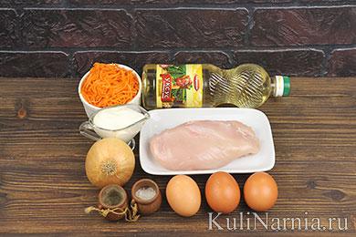 Салат с омлетом и курицей рецепт