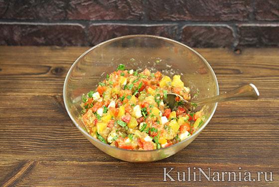 Салат с баклажанами помидорами с фото