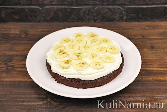 Шоколадный торт с бананом пошагово