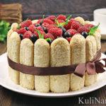 Малиновый торт с печеньем савоярди