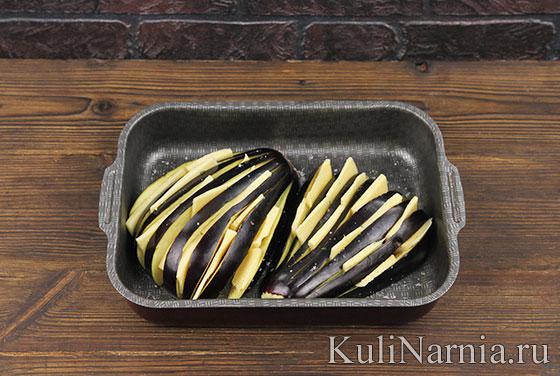 Как готовить веер из баклажанов в духовке