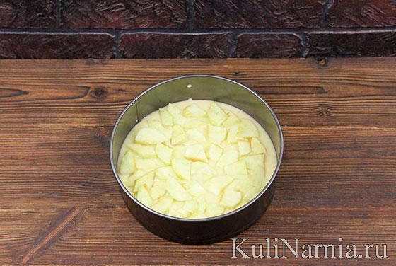 Пирог с яблоками на кефире с фото