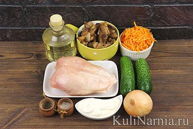 Слоеный салат с курицей рецепт