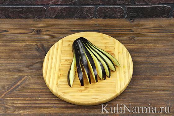 Веер из баклажанов с помидорами и сыром рецепт