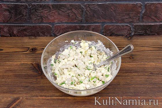 Салат с курицей и маринованными грибами пошагово